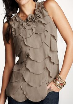 scalloped tiered top in a beautiful Mocha color!
