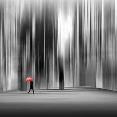 monochrome stage, little red umbrella