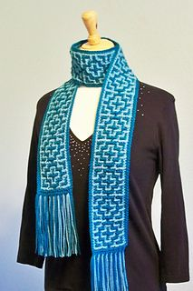 This mosaic crochet scarf is fun to crochet with its striking geometric design! The pattern includes both versions of the scarf: one is made in worsted weight yarn with less rows and the other is made in light weight yarn with more rows. The scarf can be made in the colors shown or any colors of worsted weight or light weight yarn you choose. Instructions are given to make the scarf longer or shorter, also.