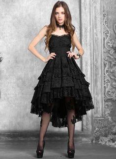 Dark In Love Gothic Prom Dress Black VTG Steampunk Victorian Lace Evening Formal
