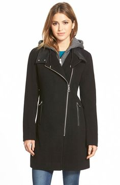 MARC NEW YORK 'Hilary' Asymmetrical Wool Blend Coat with Detachable Hooded Bib available at #Nordstrom