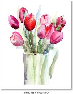 Beautiful Tulips flowers, Watercolor painting  - Artwork  - Art Print from FreeArt.com