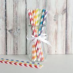 Striped Party Straws - Rainbow Mix