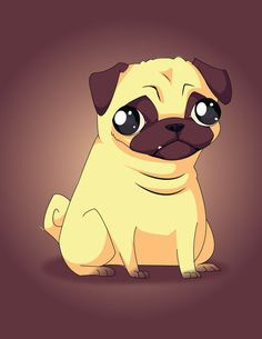 Cartoon pug, I feel like the eyes make this pug look a little dead in the head.