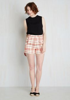 Play by Playful Shorts in Petal Plaid. Youre just as smitten with sporting these white shorts as you are with spending an afternoon at the baseball stadium. #pink #modcloth