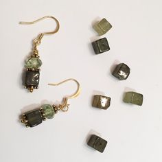 Green Garnet and Gold Earrings