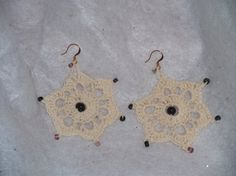 Ivory Snowflake Crochet Earring with Purple Beads