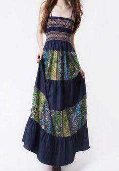 Boho Spaghetti Straps Smocked Top Tribal Print Maxi Dress - I can't wait to wear long dresses this Fall!