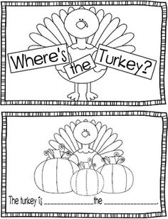 "My graders have been learning about ""what"" words (nouns) and ""where"" words (prepositions) so I made this little book to tie into our Thanksgiving Unit. I included a noun/preposition word bank at the end. Some of my children need a word bank, some don't. Speech Activities, Art Therapy Activities, Language Activities, Holiday Activities, Preschool Activities, Thanksgiving Preschool, Thanksgiving Worksheets, November Thanksgiving, 2 Kind"
