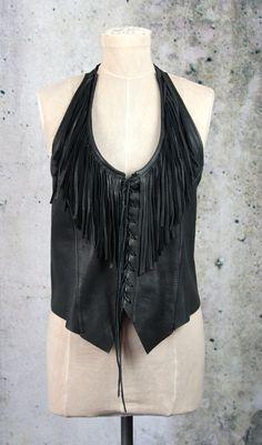Vintage Hippie Boho Biker Black Leather Halter Top by LaineeLee on Etsy