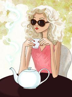 Enjoying a pot of tea.
