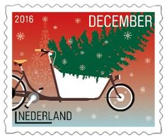 Bakfiets met kerstboom #Decemberzegels2016