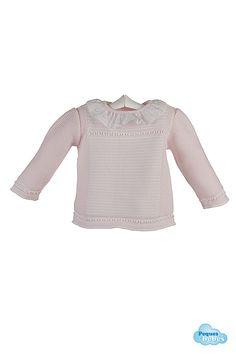 Detalle del jersey rosa para bebé http://www.pequesybebes.es/conjuntos-bebe-nino-nina-invierno/484-conjunto-bebe-jersey-ranita-pique.html