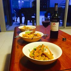 Home cooked Paella and organic red wine - delicious !