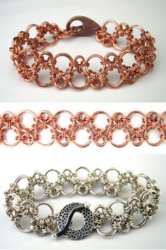 Chain-Maille Bracelet Reminds Me of Soap Bubbles. Site Contains Many Patterns and Sells Kits and Materials