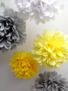 Tissue pom poms  5 paper pompoms  When skies are grey by pomtree, $20.00 or get them at Party City
