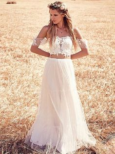 off shoulder two piece boho wedding gown / http://www.deerpearlflowers.com/two-piece-wedding-dresses/2/