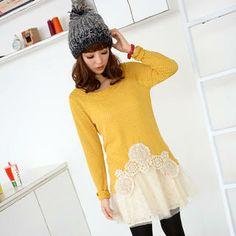 Set: Crochet-Hem Knit Top + Lace-Hem Mesh-Overlay Slipdress from #YesStyle <3 59 Seconds YesStyle.co.uk
