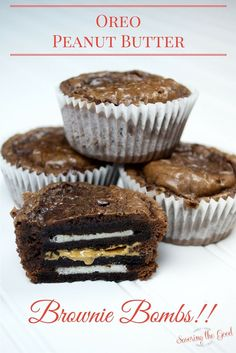 Oreo Peanut Butter Brownie Bombs recipe. Oreo Peanut Butter Brownie Bombs and be the hero at every bake sale, pot luck and 'snack friend' day at school.