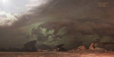 A Digimatte Concept I had the chance to create for the Warcraft Film's initial Comicon Trailer. The mediums involved were a mixture of Plate Photography from the Trona Pinnacle area in Mojave Desert California, some ZBrushed terrains and mesas and a good amount of paintover work... Super fun. A good challenge was to create a 180 wide coverage with consistent lighting. I ended-up using the sketch as an environment map to light some of the ZBrush mesas... If I remember correctly, some of th...