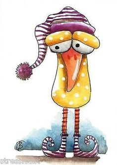 ACEO Original watercolor art painting whimsical animal bird sleepy head