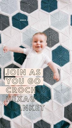 Crochet Hexagon Blanket, Crochet Quilt Pattern, Crochet Blankets, Crochet Blanket Patterns, Crochet Hooks, Crochet Baby, Knitting Patterns, Crochet Needles, Crochet Stitches