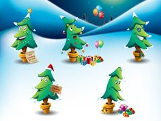 2014 Christmas Tree Cartoon Vector Set