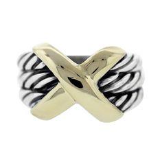 David Yurman Sterling Silver & 14K Yellow Gold 3 Row Cable X Ring Size 6.5 #DavidYurman