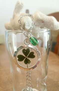 Resin four leaf clover necklace