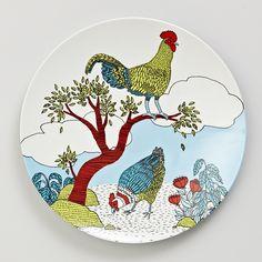 melamine dinner plate - roaming roosters #hardtofind. #home #patterns #plate #dinnerware #birds #chicken #art