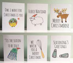 Funny Christmas Cards, Christmas Puns , Set of 6, Humorous, Funny Cards for Christmas, Puns.