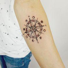 more beautiful tattoos moon compass tattoo moon phases tattoo tattoo Nautical Compass Tattoo, Compass Tattoo Meaning, Compass Tattoo Design, Moon Tattoo Designs, Tattoo Designs And Meanings, Tattoo Life, Luna Tattoo, Sternum Tattoo Lotus, Women Sternum Tattoo