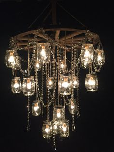 Wagon Wheel Mason Jar Chandelier 30""