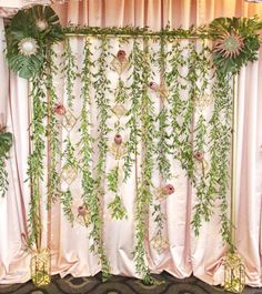 Lana designed this Ceremony Structure with Protea and Ruscus adding Geometric Accents and Fairy Lights.  Swag Decor. Citrus Club