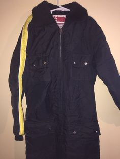 Vintage JC Penny Black Insulated One Piece Snowmobile Ski Suit SZ 8-10 FREE SHIP #JCPennys