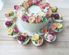 Buttercream flower cake and cupcakes http://thesweetspot.com.my