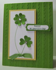 Happy St Patrick's Day card - SU - Teeny Tiny Wishes, Gumball Green, Scallops Textured EF - inspired by crazysuziestamper on SCS (by Barb Mann) St Patricks Day Cards, Happy St Patricks Day, Valentine Day Cards, Holiday Cards, Christmas Cards, St Patrick Day Treats, St Patrick's Day Crafts, Stamping Up Cards, Pretty Cards