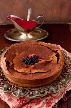 French Chocolate Cake - Gateau au Chocolat _ This is typical of a French homemade cake - dense, dark and delicious.The texture is very different from a sponge cake and it is excellent served with cream or a fruit coulis.