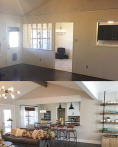 Before and After of this Rustic Modern renovation ❤️❤️ sources tagged #shanty2chic #beforeandafter  Wall paint - Agreeable Gray by SW, Cabinet paint - ExtraWhite by SW 
