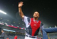 Evan Gattis! waving to fans after hitting a home run.. (love this guy)