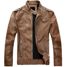 European American Style Thicken Warm PU Leather Jacket Motorcycle Coat For Men - Newchic Mobile version.