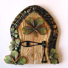 Shamrock Fairy Door Pixie Portal by Claybykim on Etsy