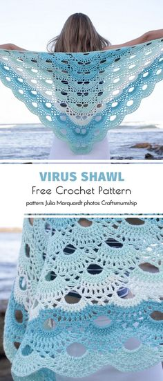 The Most Beautiful Virus Shawl Ideas. This subtle version of our favorite shawl brings back memories of summer. If you're feeling a bit nostalgic and sentimental, use your state of mind as a source of Crochet Scarves, Crochet Shawl, Crochet Clothes, Crochet Stitches, Crochet Baby, Free Crochet, Knit Crochet, Crochet Summer, Free Knitting