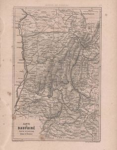 Original Antique French Map The Dauphine France 1860 by reveriefrance on Etsy