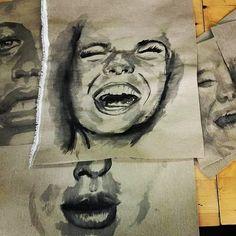 Ink drawings #ink #inkdrawings #drawings #artoftheday #art #artist #portrait #expressions #facialexpressions #blackandwhite