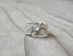Pearl Stacking Ring, Pearl, Sterling Silver, Simple Rings, Mother Of Pearl $95.00