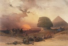 ROBERTS, David, RA (1796-1864) and Louis HAGHE. Approach of the Simoon, Desert of Gizeh. #egypt