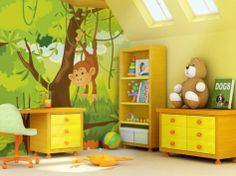 . Cute Jungle Themed Kid Bedroom With Bright Furniture Color Scheme.