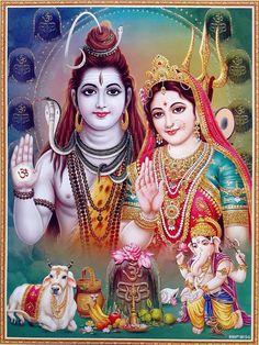 Lord Shiva And Family (Parvati, Lord Ganesha and Lord Kartikeya/Muruga) Shiva Parvati Images, Shiva Hindu, Shiva Art, Hindu Deities, Lakshmi Images, Durga Images, Krishna Images, Lord Shiva Pics, Lord Shiva Hd Images