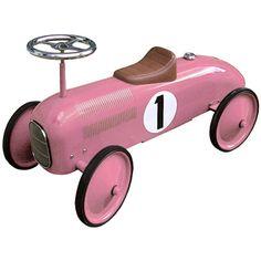 Trotteur pour enfant rétro en métal (rose, rouge, ou gris)
